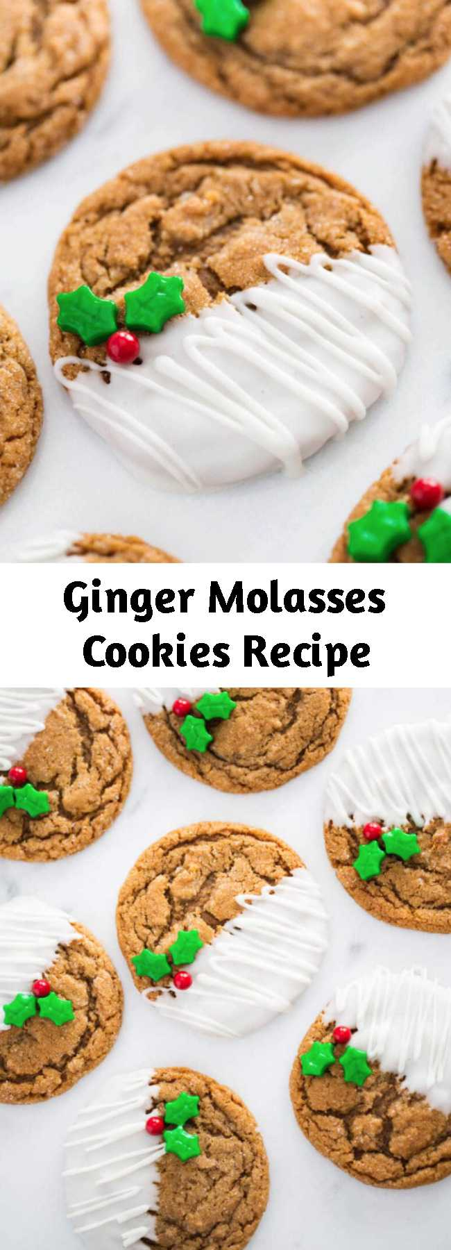 Ginger Molasses Cookies Recipe - Molasses cookies that are soft and chewy on the inside and crisp around the edges. Full of delicious ginger flavor and taste just like Christmas! Drizzle or dip in white chocolate for the ultimate holiday cookie! #cookies #cookierecipes #christmas #christmasrecipes #cookiedecorating #cookieart #recipe