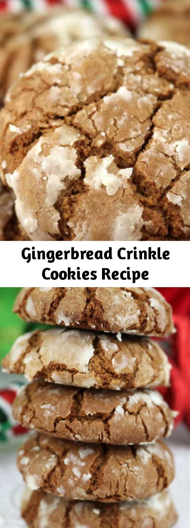 Gingerbread Crinkle Cookies Recipe - Gingerbread Crinkle Cookies - light, fluffy and spicy on the inside and sweet and crunchy on the outside is a delicious Christmas dessert. So easy to make, so delicious, so Christmas-y! You're definitely going to want to add this recipe to your Christmas desserts baking list! #ChristmasDesserts #EasyChristmasDessert #FunChristmasDessert