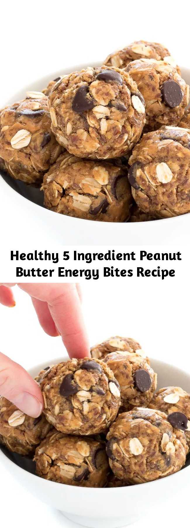 Healthy 5 Ingredient Peanut Butter Energy Bites Recipe - No Bake 5 Ingredient Peanut Butter Energy Bites. Loaded with old fashioned oats, peanut butter and flax seeds. A healthy protein packed breakfast or snack! #recipe #healthy #peanut #butter #energy #bites #snack #breakfast
