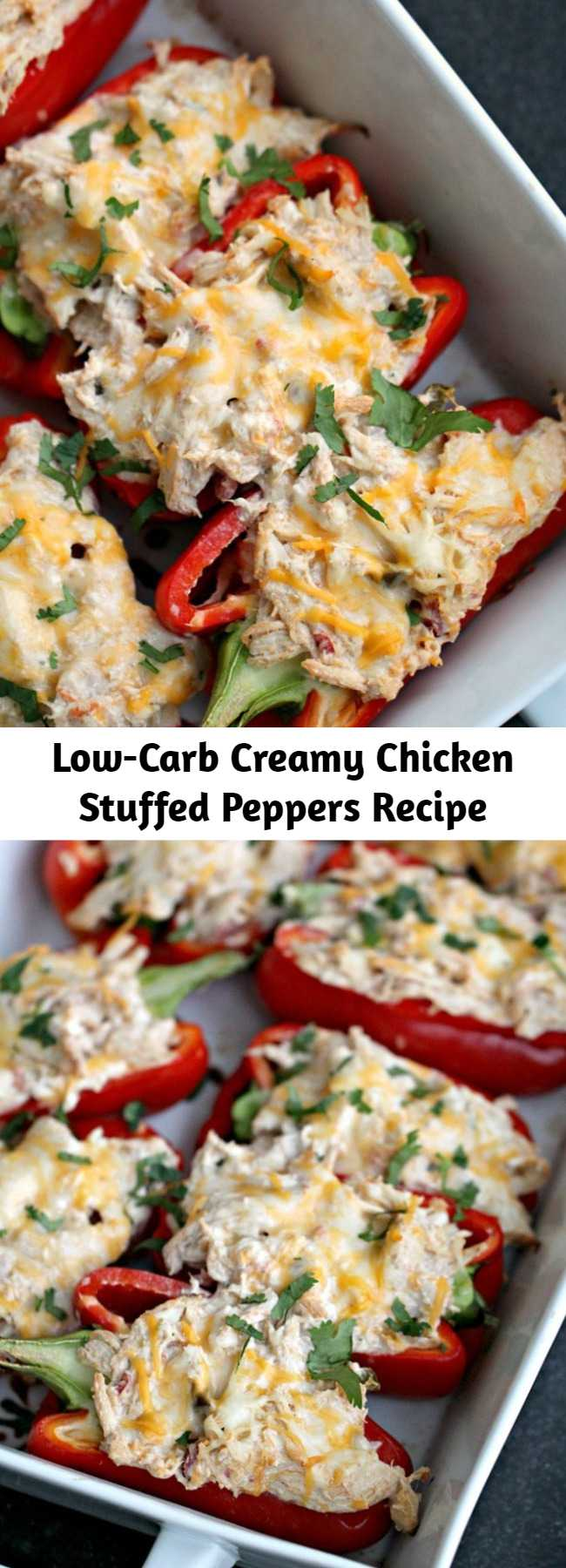 Low-Carb Creamy Chicken Stuffed Peppers Recipe - A delicious and healthy low-carb meal that's ready in minutes. These Creamy Chicken Stuffed Peppers will soon become a favorite at your house. Made using chicken that has been cooked and shredded, light cream cheese, jalapeno, spices, and salsa and then topped with some fresh cilantro - it's low-carb dinner perfection!