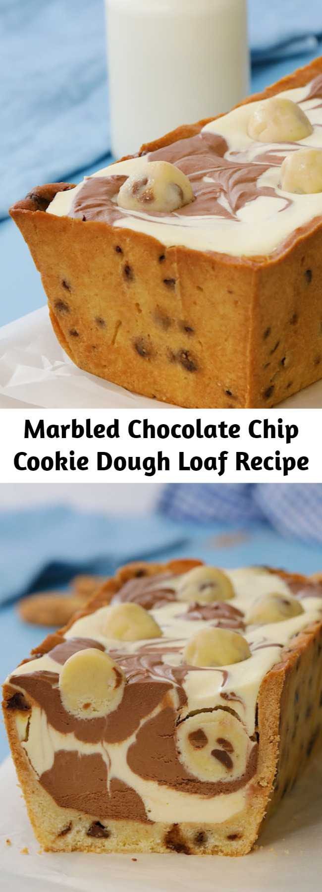 Marbled Chocolate Chip Cookie Dough Loaf Recipe - This chocolate chip cookie dough loaf is simply marbelous!