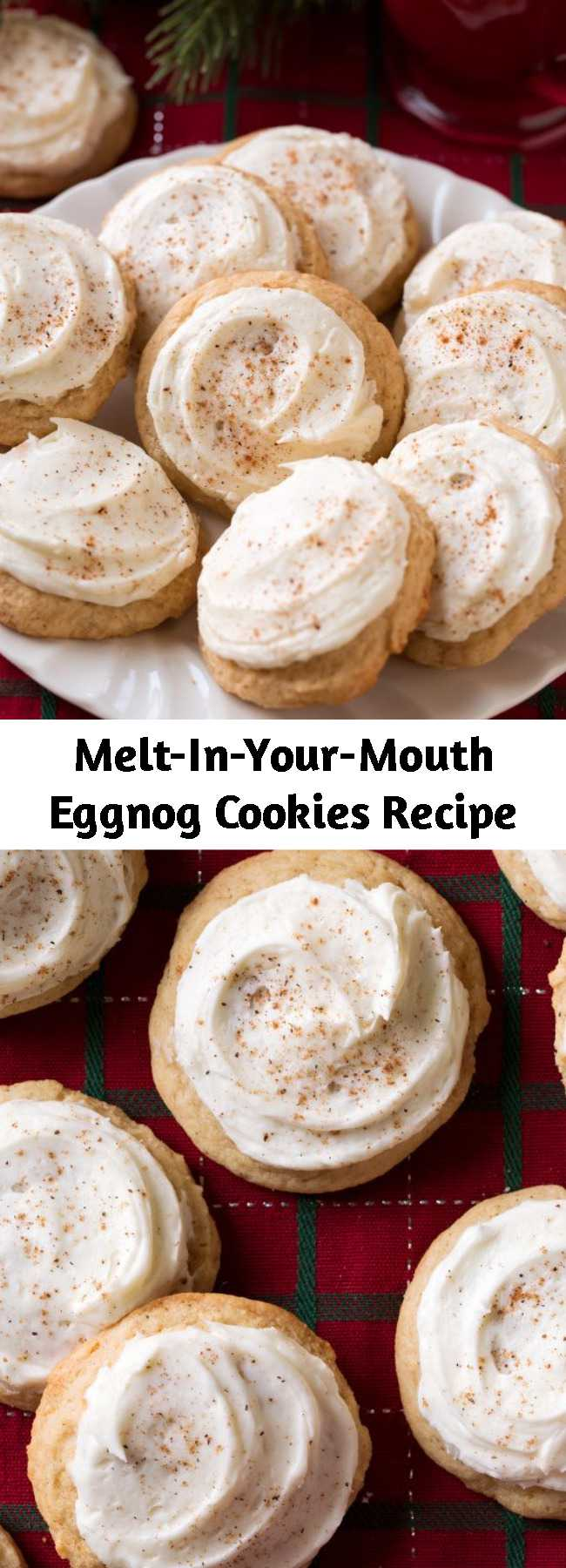 Melt-In-Your-Mouth Eggnog Cookies Recipe - With their tender cake-like texture and generous coating of eggnog frosting they are likely to become a new favorite holiday cookie! Once you try them you'll want to make them at least once every Christmas season. They're a soft and fluffy, cake-like cookie with a deliciously tender texture, the perfect amount of spice, and a rich eggnog frosting.