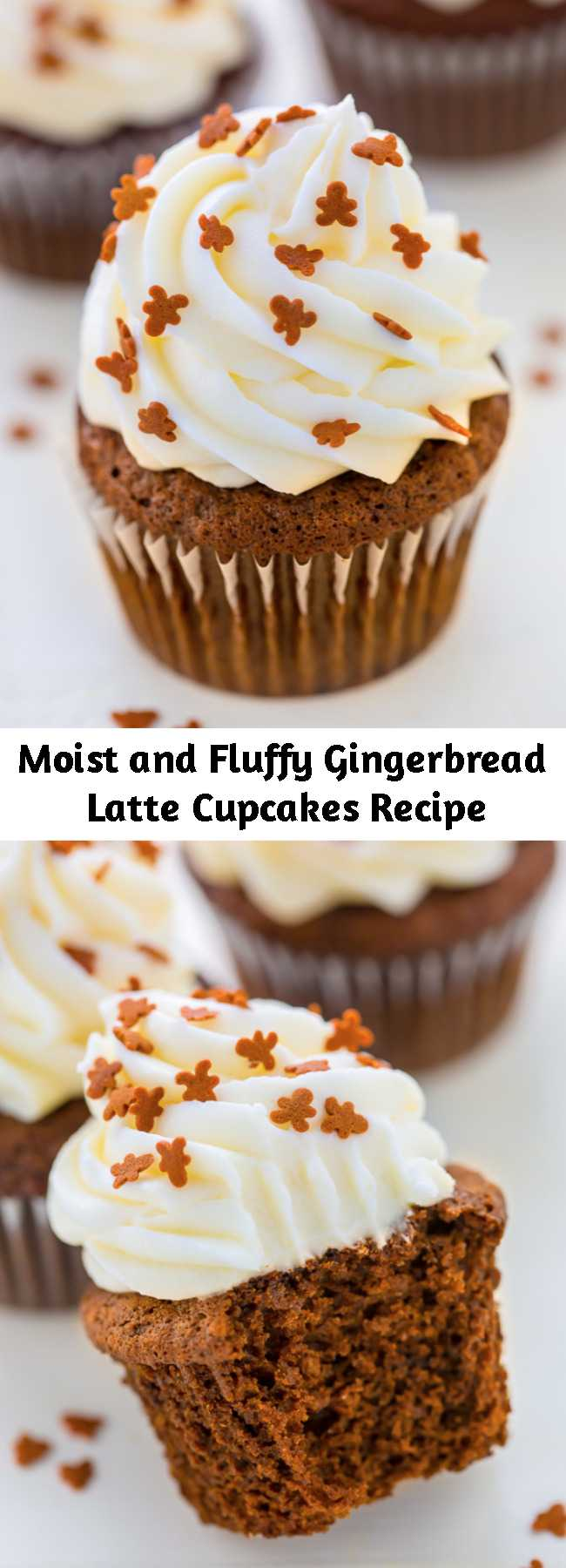 Moist and Fluffy Gingerbread Latte Cupcakes Recipe - These gingerbread latte cupcakes are moist, not too sweet, and perfectly spiced. The cream cheese frosting is thick, fluffy, and flavored with just a kick of fresh lemon. They're going to be the hit of your holiday party!