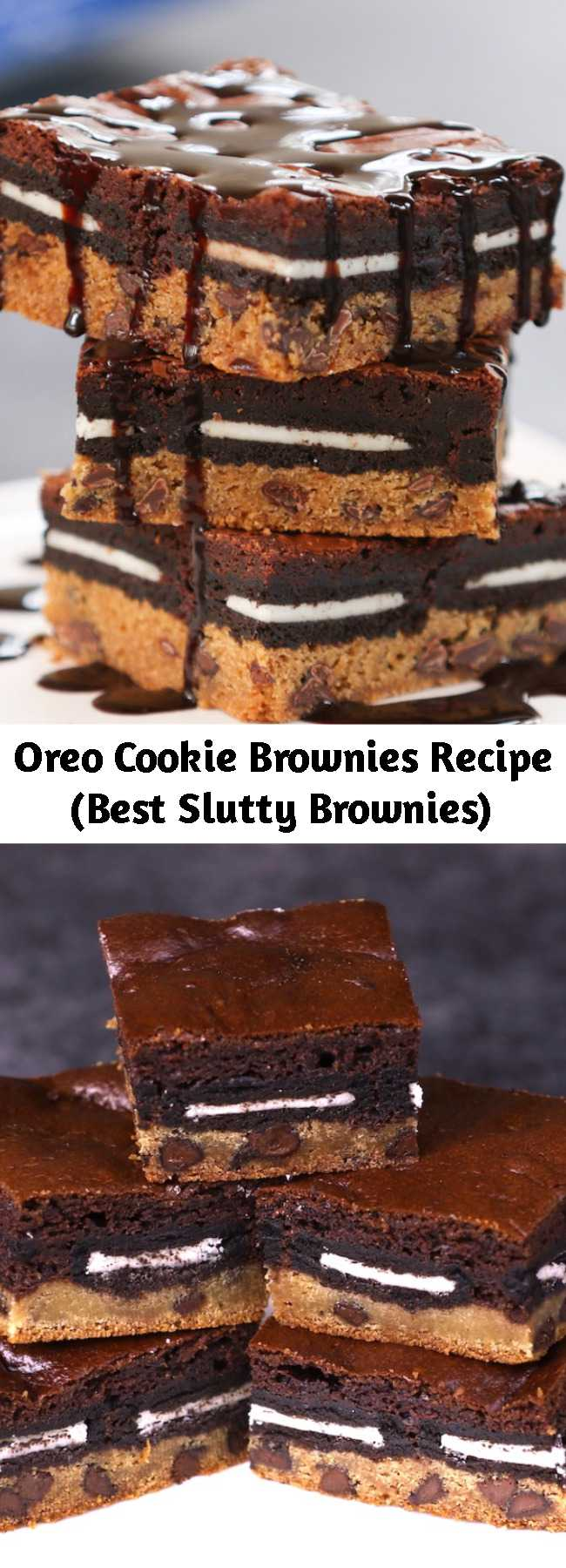 Oreo Cookie Brownies Recipe (Best Slutty Brownies) - These Slutty Brownies melt in your mouth with rich layers of cookie dough, Oreo cookies and brownies. This slutty brownie recipe is easy to make whenever you want an extra-decadent treat!