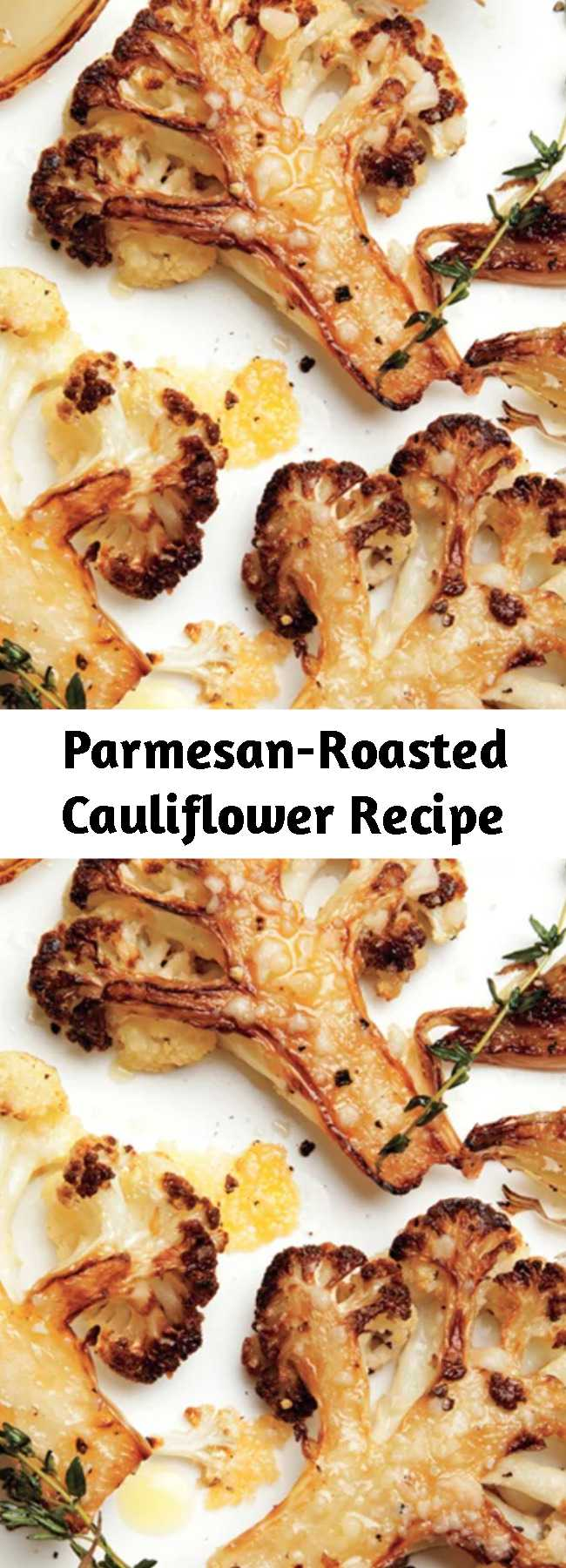 Parmesan-Roasted Cauliflower Recipe - The combination of meaty, caramelized, roasted cauliflower florets and some just-this-side-of-burnt onions has become our go-to winter side dish recipe.
