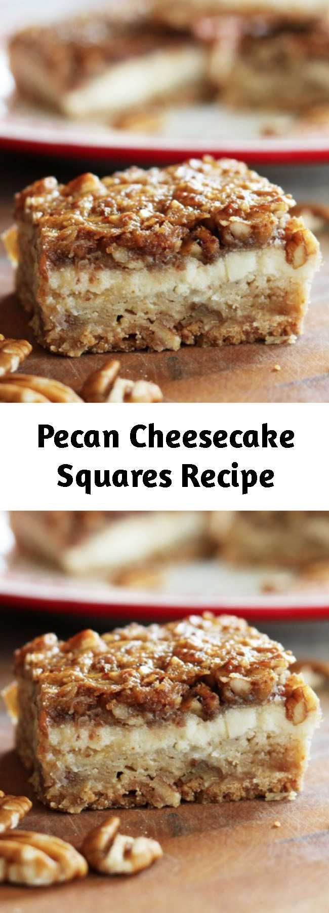 Pecan Cheesecake Squares Recipe - Each square of this scrumptious dessert boasts a layer of shortbread, a layer of tangy cheesecake, and a crunchy pecan pie layer in every bite!
