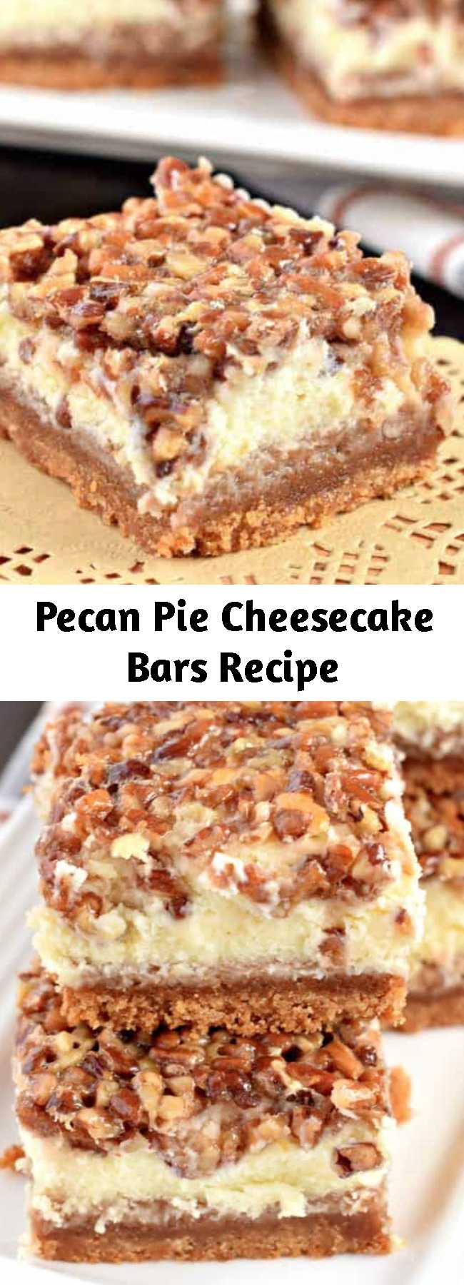 Pecan Pie Cheesecake Bars Recipe - The layers on these Pecan Pie Cheesecake Bars are incredible! One tasty bite and you'll fall in love! From the graham cracker crust, to the sweet cheesecake filling and the pecan pie topping, this holiday dessert receives rave reviews from everyone!