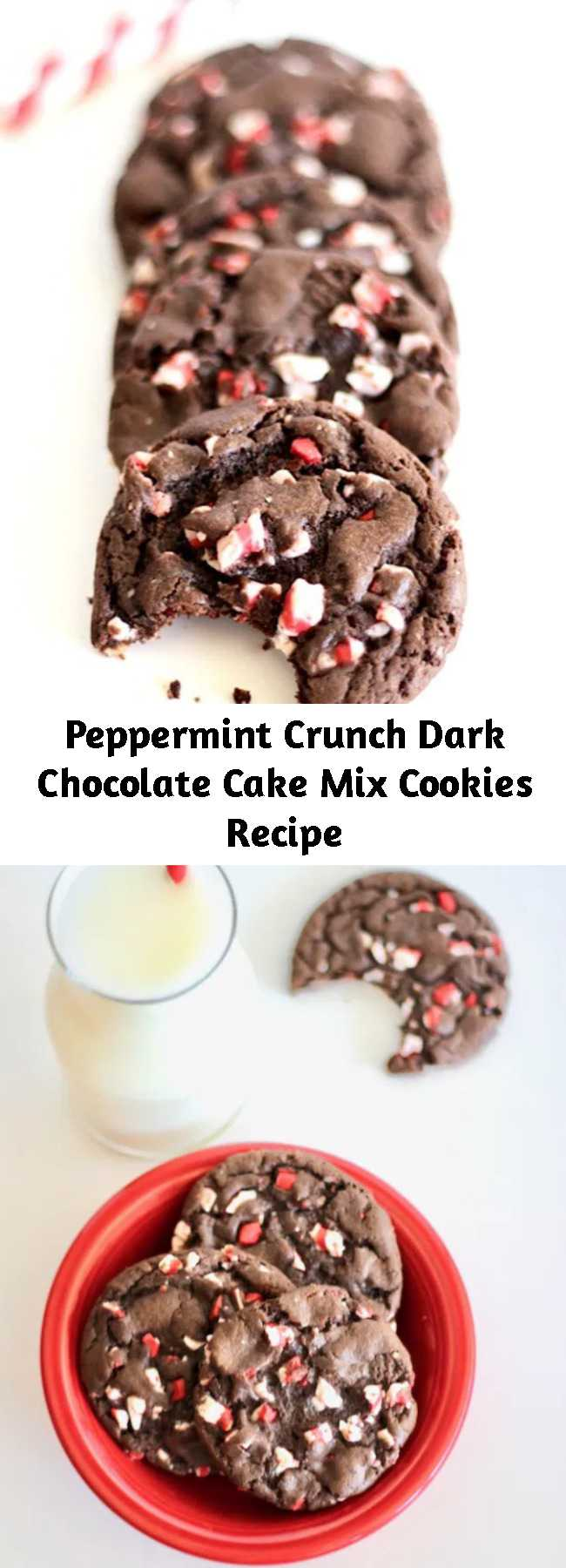 Peppermint Crunch Dark Chocolate Cake Mix Cookies Recipe - These dreamy Peppermint Crunch Dark Chocolate Cake Mix Cookies taste just like Christmas with every bite!