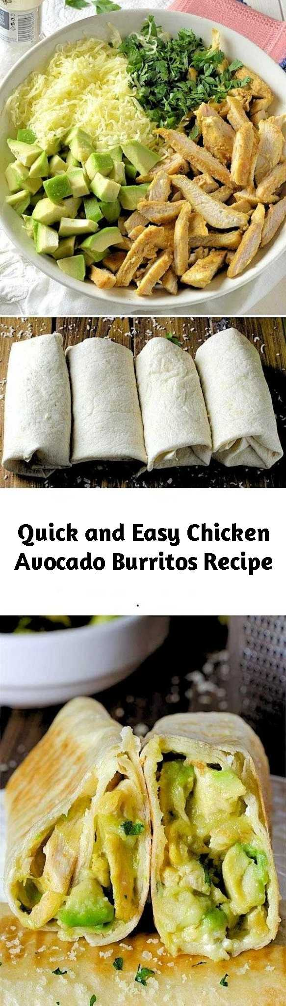 Quick and Easy Chicken Avocado Burritos Recipe - Looking for quick and easy dinner recipes? This Chicken Avocado Burritos come together with just 15 min prep! If you are in a big hurry to prepare a beautiful lunch or dinner, maybe it's time for you to try the healthy and easy Chicken Avocado Burritos. I consider this a real trick up my sleeve for situations like this just like this Chicken Avocado Salad Roll Ups. #healthydinnerrecipes #easyrecipes #chickenavocado