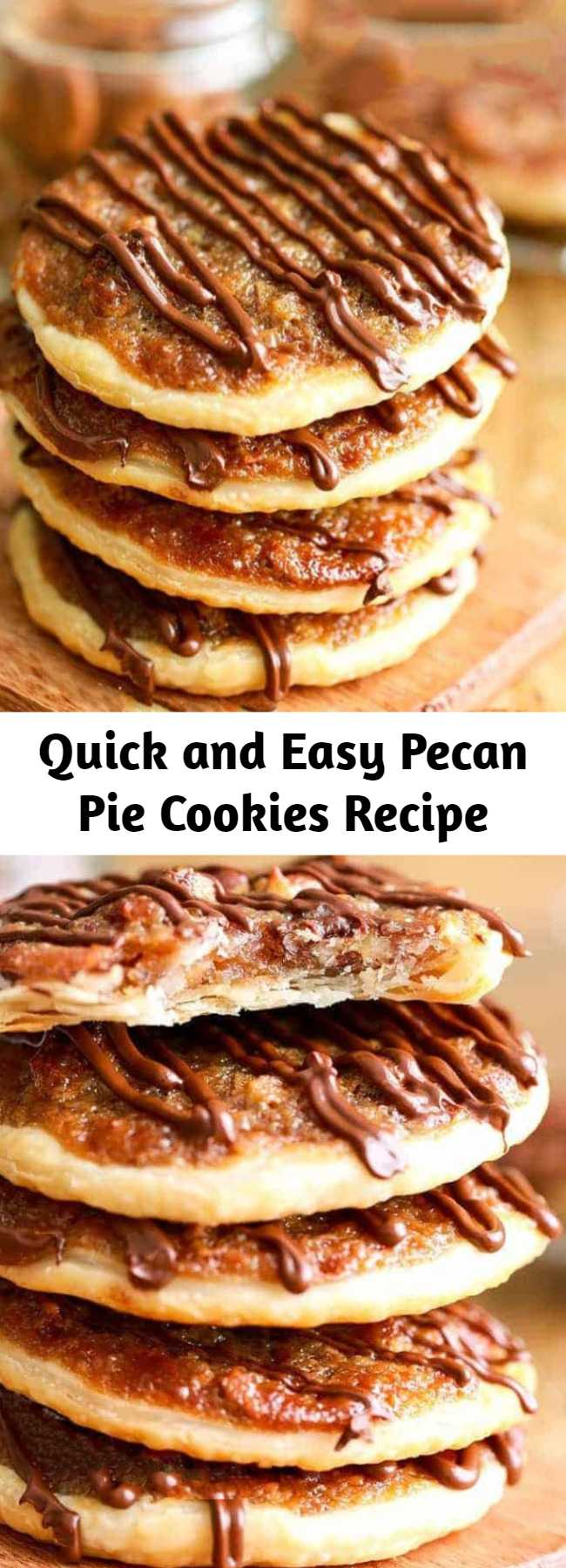 Quick and Easy Pecan Pie Cookies Recipe - Pecan Pie Cookies have a thin flaky crust with a layer of the amazing nutty caramely pecan pie filling we love so much! These are the perfect cookies for any occasion!