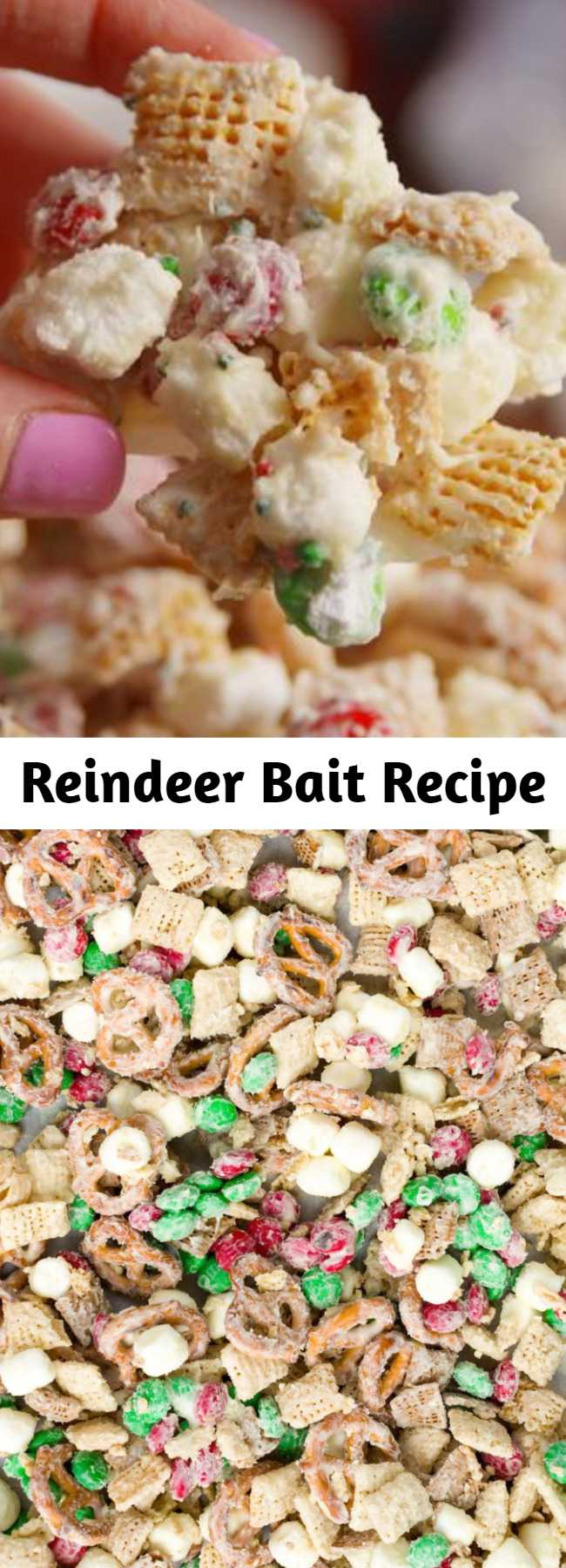 Reindeer Bait Recipe - Don't even think about heading to a Christmas party without a batch of this. #easy #recipe #reindeer #bait #reindeerpoop #chexmix #snacks #mm #kids #christmas #marshmallows #trailmix #pretzels #salty #sweet #nobake #dessert