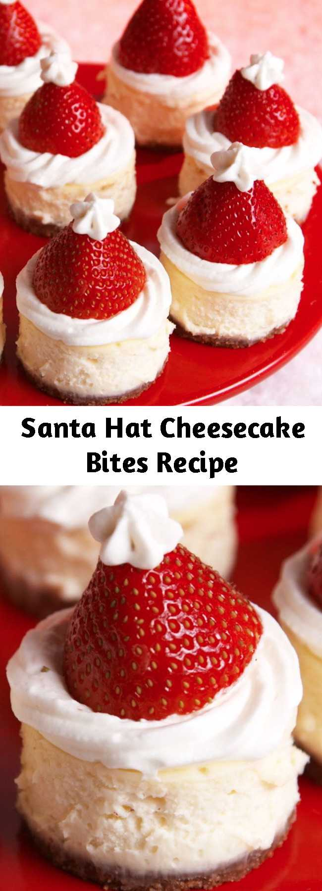 Santa Hat Cheesecake Bites Recipe - When Santa makes his list and checks it twice this year, we plan to be right at the top: these mini Santa cheesecake bites are the easiest way to show just how nice you are. #easy #recipe #cheesecake #bites #santa #hat #strawberry #hack #dessert #holiday #christmas