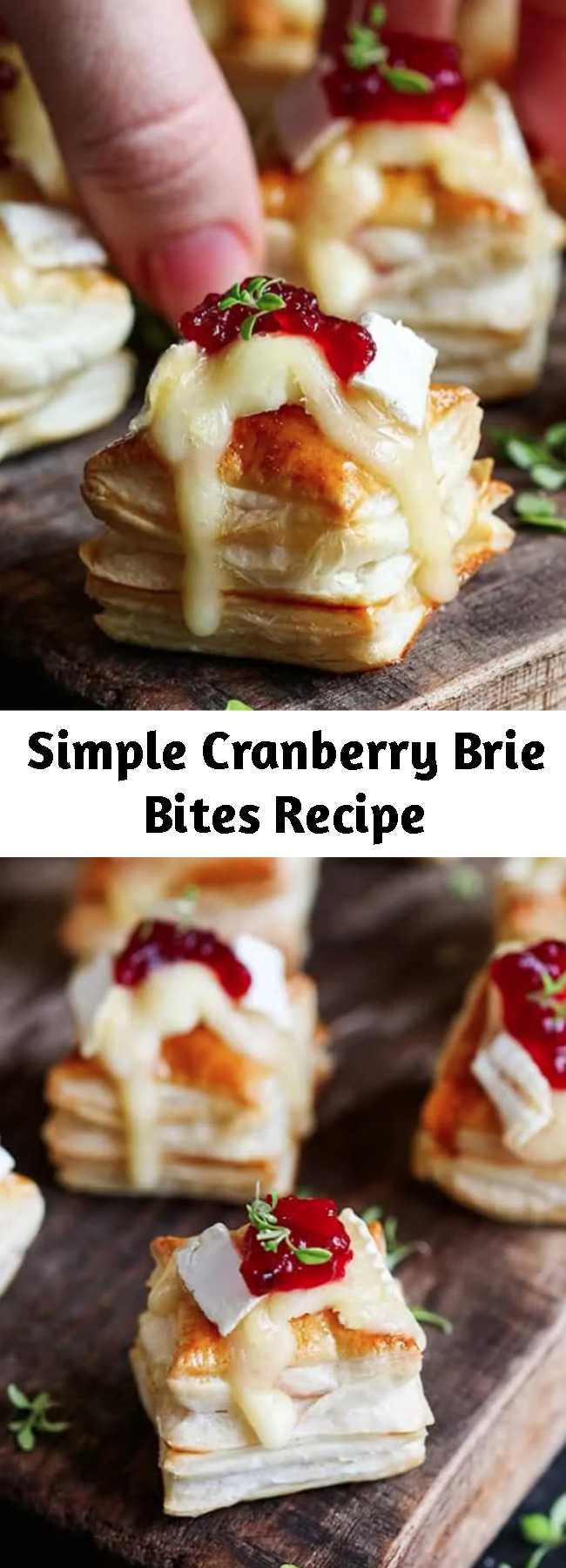 Simple Cranberry Brie Bites Recipe - The Cranberry Brie Bites are a simple appetizer or party snack. These Cranberry and Brie Bites always gets polished off in minutes! Super easy to make, Five ingredients in the oven and ready in 21 minutes! - that's my kind of recipe.