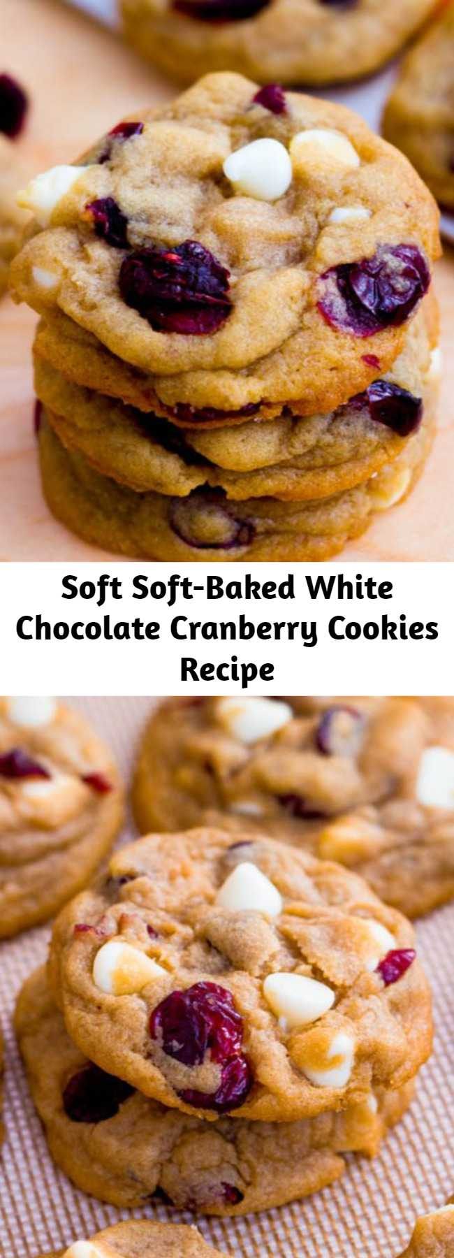 Soft Soft-Baked White Chocolate Cranberry Cookies Recipe - Perfectly soft and thick white chocolate cranberry cookies. The cornstarch is the secret! One of my favorite flavor combinations ever!