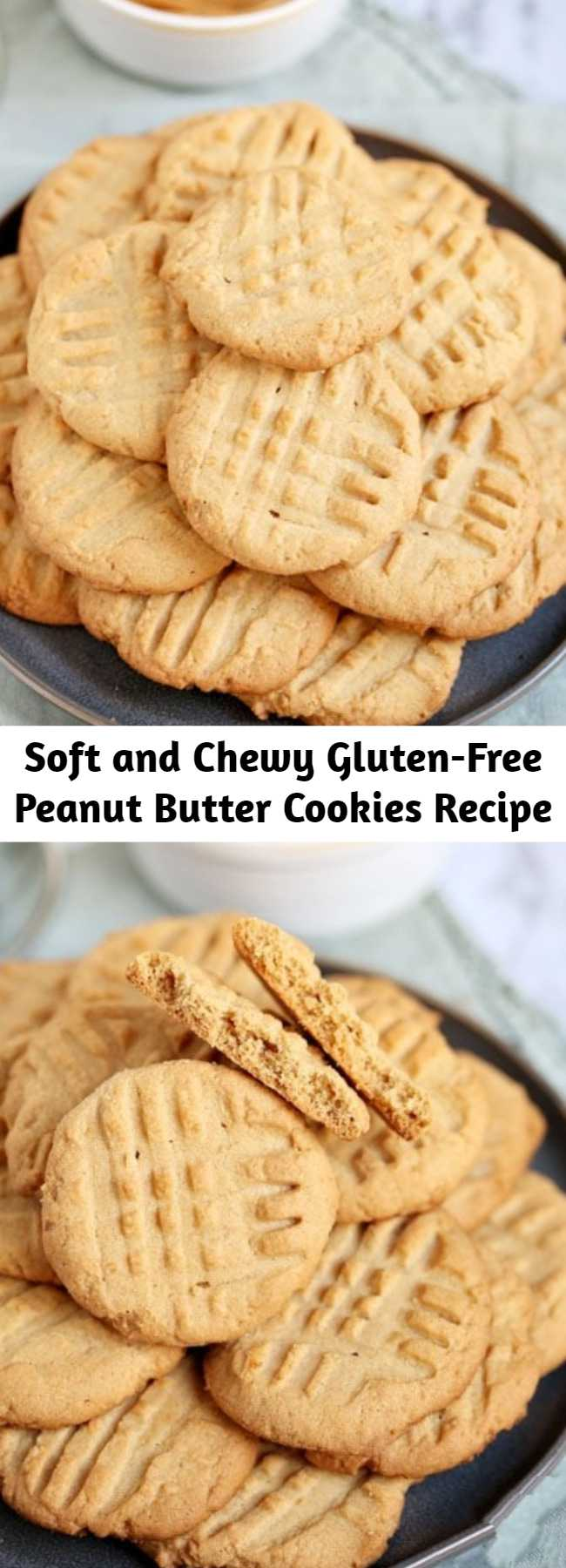 Soft and Chewy Gluten-Free Peanut Butter Cookies Recipe - This easy recipe uses common ingredients that make a peanut butter cookie so delicious, no one will guess it's gluten-free! Unlike many GF cookie recipes, these gluten free peanut butter cookies are delicious and chewy, not dry and crumbly.