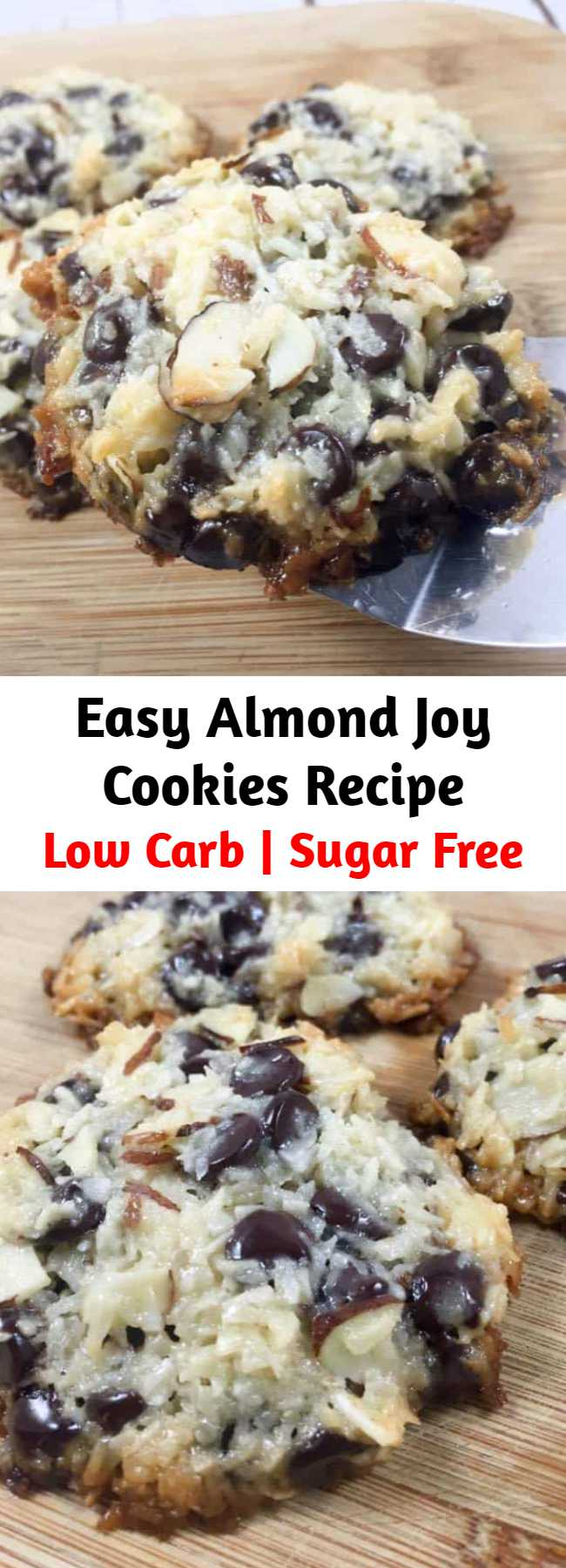 Super Easy Almond Joy Cookies Recipe - Keto Low Carb Almond Joy Cookies! These Almond Joy Cookies only have 4 ingredients and are everything you've dreamed of in a low carb chocolate chip coconut cookie. Filled with coconut, stevia-sweetened chocolate chips, almonds, and homemade (sugar free) low carb sweetened condensed milk, you'll want to make these again and again!