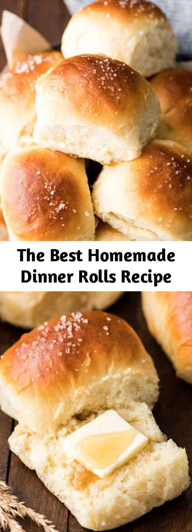 The Best Homemade Dinner Rolls Recipe - This Best Homemade Dinner Rolls recipe turns out perfectly every time. These easy, soft & fluffy dinner rolls are, slightly sweet and salty, irresistibly buttery and made from scratch!! #fromscratch #dinnerrolls #bestdinnerrolls #fluffydinnerrolls #softdinnerrolls