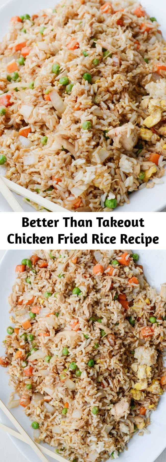 """Better Than Takeout Chicken Fried Rice Recipe - Here is my version of this classic dish – not that I have any claim to being an authority on what is """"authentic"""" Chinese food. I am an authority, however, on what is super incredibly yummy.  This rice gets my stamp of approval, with honors. It is better than takeout, and you can enjoy skipping all the mysterious, unhealthy parts of fast food."""