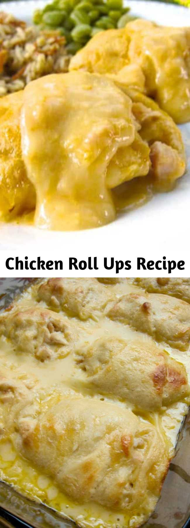 Chicken Roll Ups Recipe - Heaven in a pan... Chicken, cheese, milk, chicken soup and crescent rolls – Only 5 ingredients for a delicious weeknight meal that is ready in 30 minutes! I could eat the whole pan myself!!
