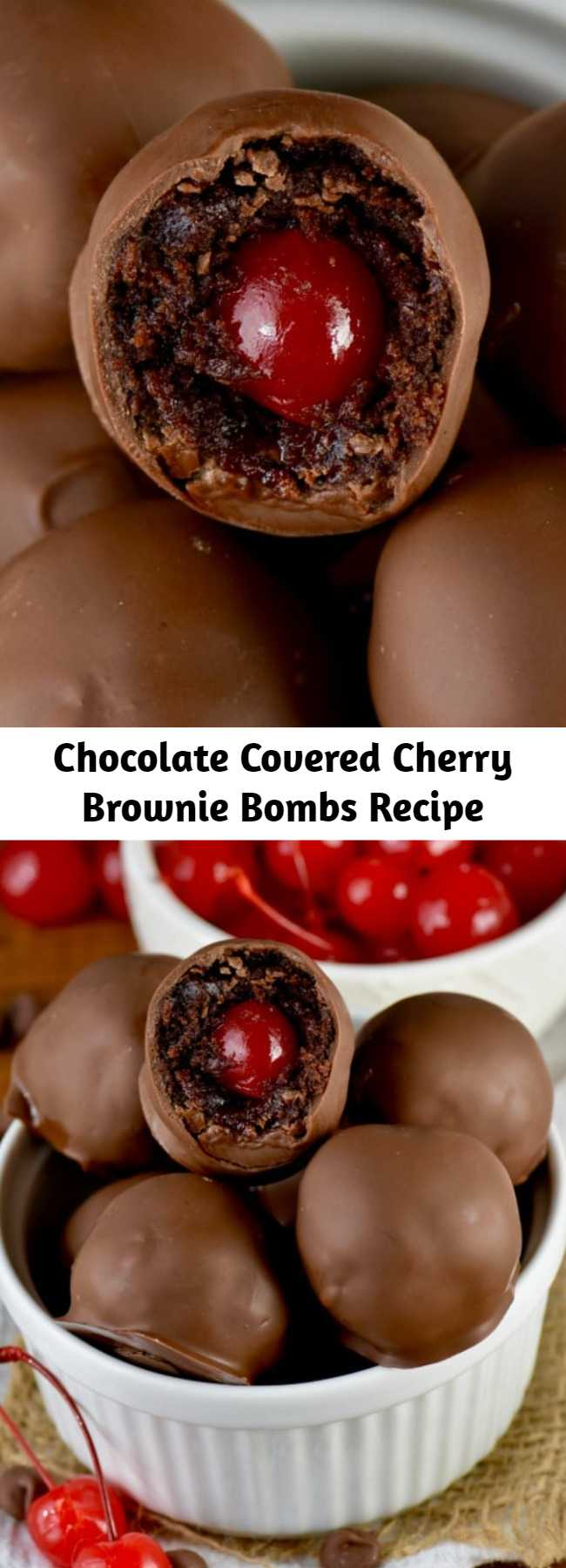 Chocolate Covered Cherry Brownie Bombs Recipe - These Chocolate Covered Cherry Brownie Bombs are delicious bites of brownie surrounding cherries and then dipped in chocolate! These tiny little truffles of amazingness are easy enough to make, but even easier to eat!