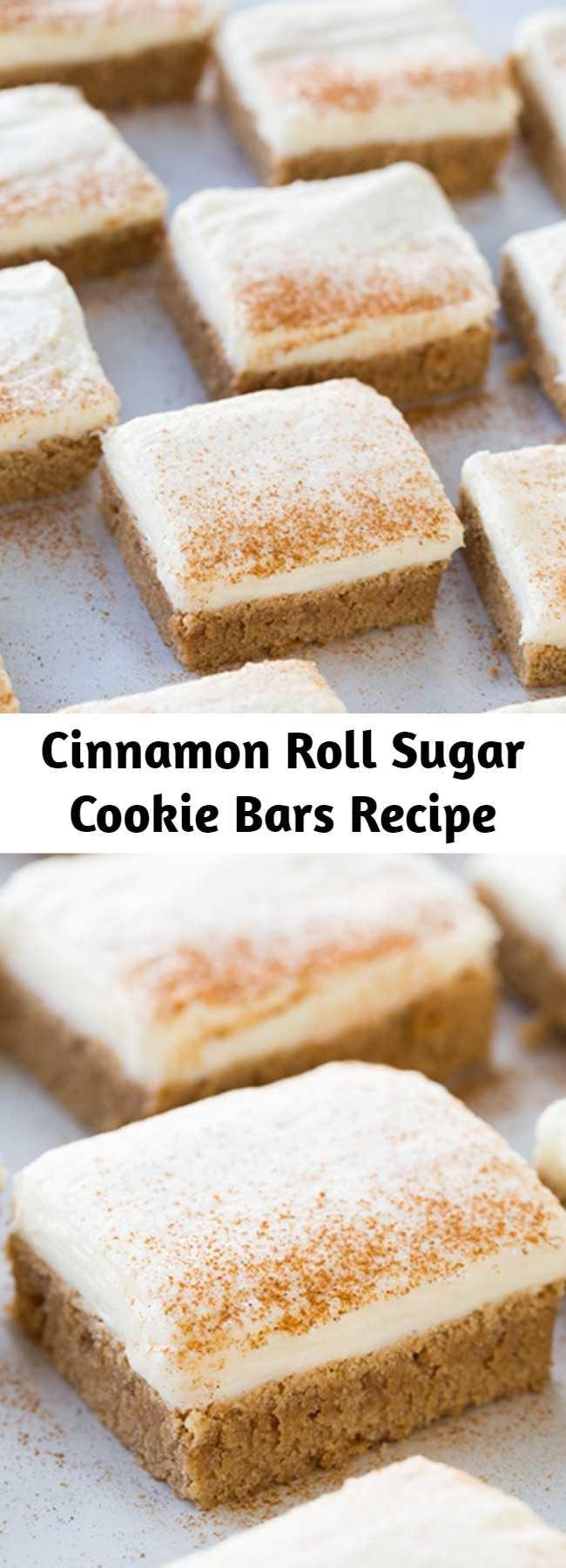 Cinnamon Roll Sugar Cookie Bars Recipe - Two tempting treats collide, sugar cookies and cinnamon rolls, something totally irresistible!