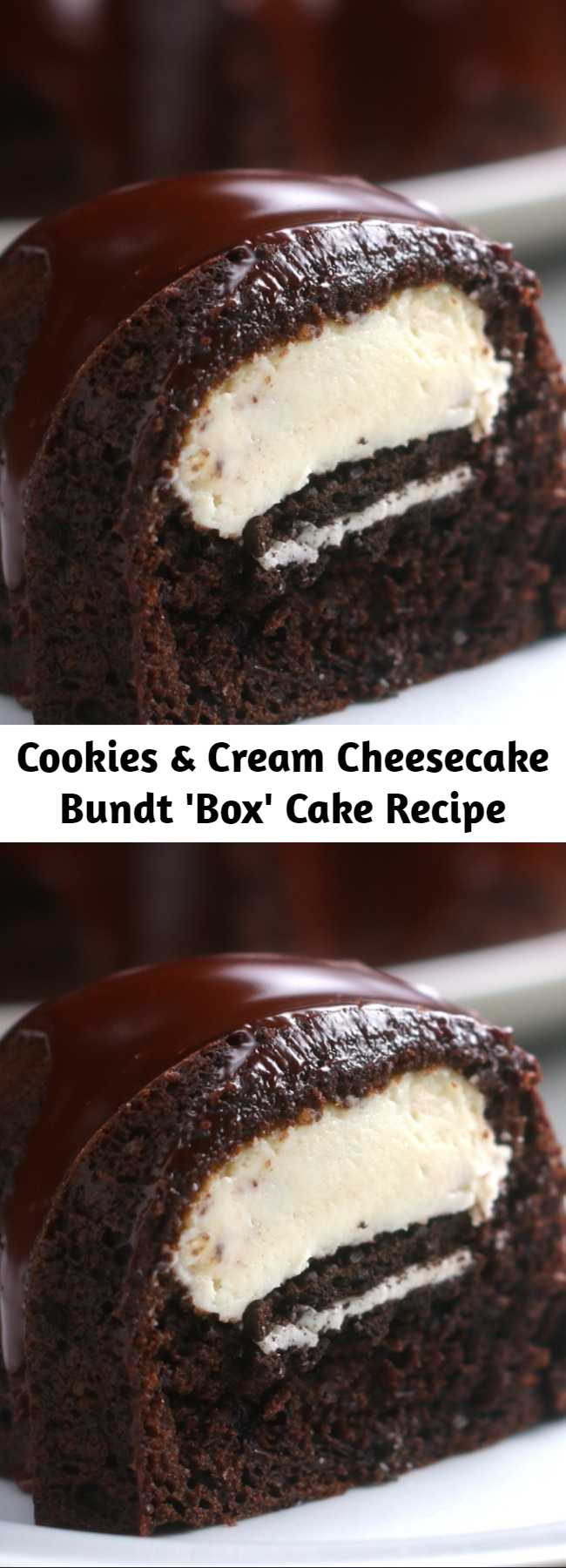 Cookies & Cream Cheesecake Bundt 'Box' Cake Recipe - Who could beat this Cheesecake Filled Chocolate Bundt Cake with its rich yet tender chocolate cake, surprise cheesecake filling, and thick fudgy glaze? YUM.