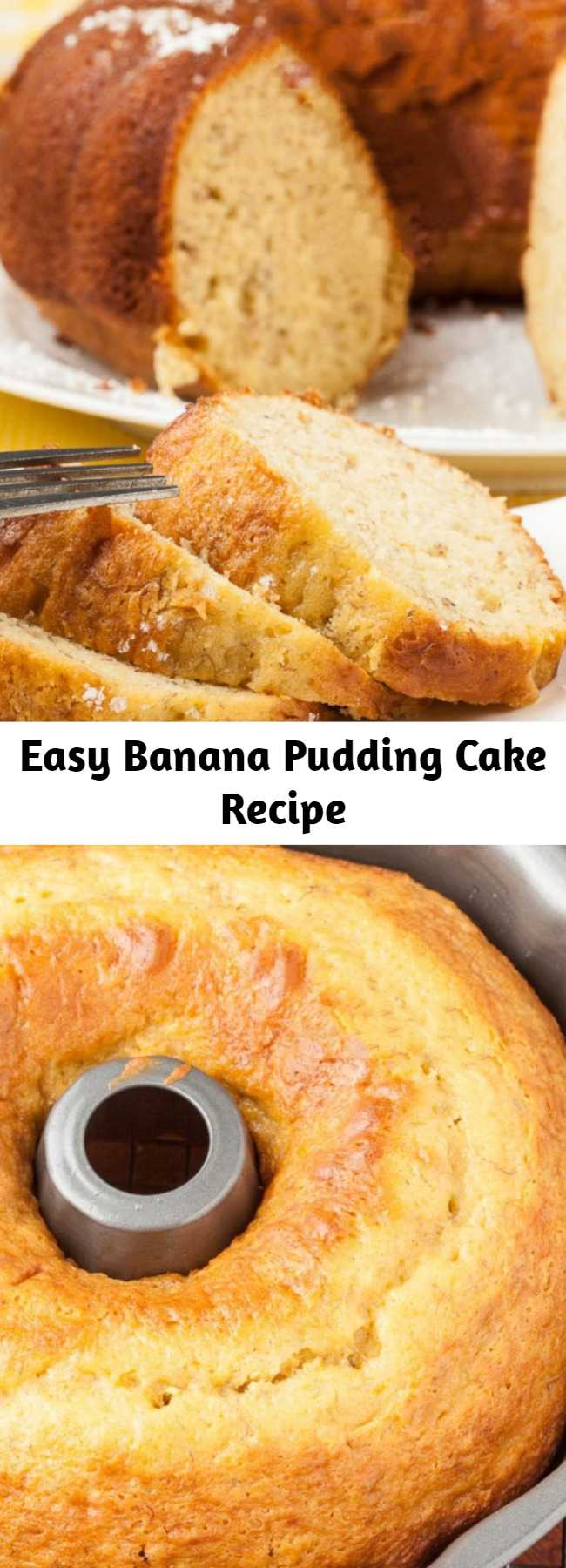 Easy Banana Pudding Cake Recipe - This Banana Pudding Cake is dreamy and luscious! It's extremely moist, tender, and boasts huge banana flavor. This cake is perfect for brunch and dessert alike. It's delish without any icing, but feel free to add your own if you wish!