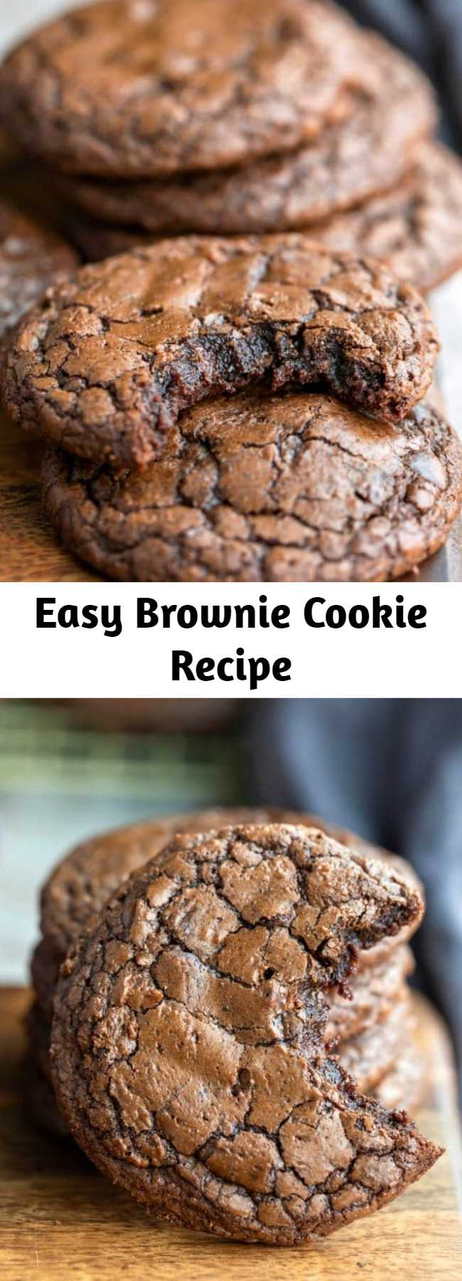 Easy Brownie Cookie Recipe - This brownie cookie recipe is all of the good parts of a brownie- crackly crust, fudgy middles, chewy edges, & intense chocolate flavor -in one easy, homemade cookie recipe. One of the best cookie recipes around!