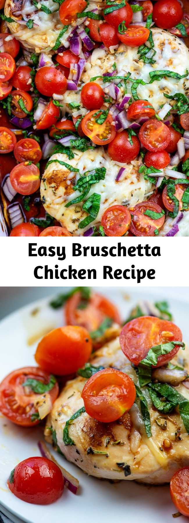 Easy Bruschetta Chicken Recipe - BRUSCHETTA CHICKEN made low carb! This delicious chicken recipe is so simple, but it's packing some serious flavor. This is amazing served over zucchini noodles or with a side salad. #recipe #lowcarb #keto #chicken