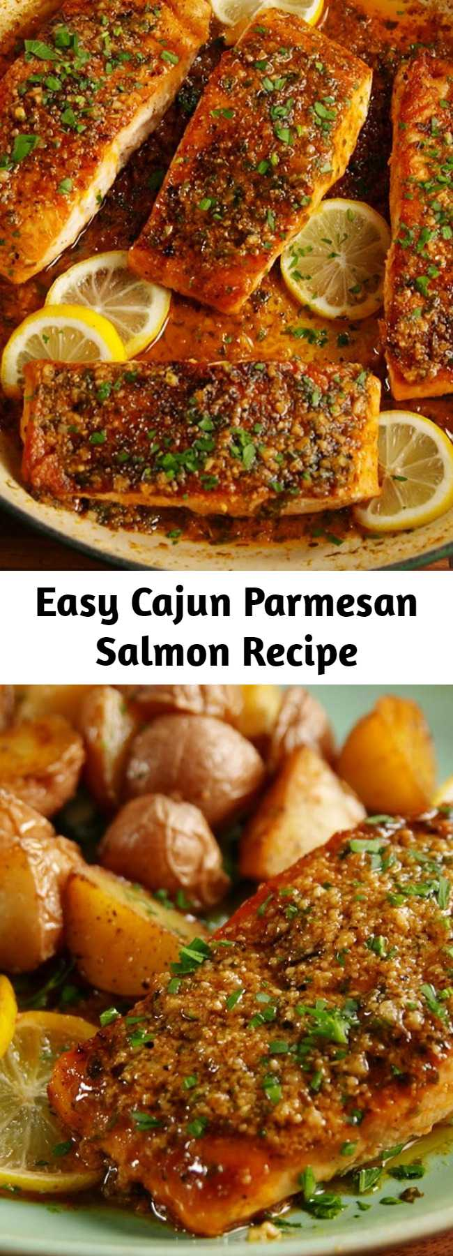 Easy Cajun Parmesan Salmon Recipe - This salmon has a simple sauce that's made right in the pan. A little kick from the cajun seasoning and a little sweet from the honey it's the perfect combo. Serve it alongside some roasted potatoes and extra Parmesan! #recipes #easyrecipes #healthyrecipes #salmon #dinner