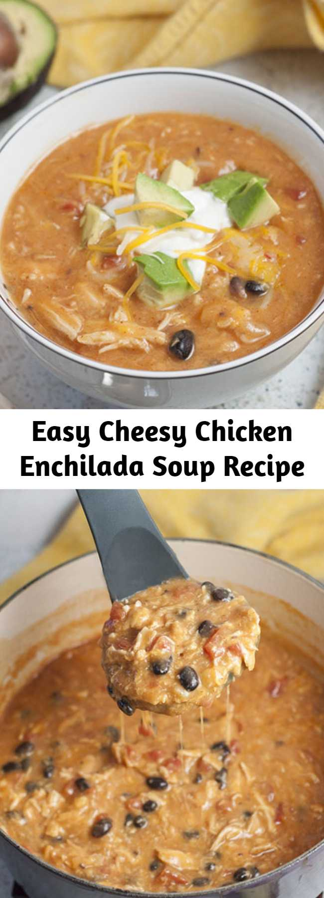 Easy Cheesy Chicken Enchilada Soup Recipe - Flavorful and filling 20 Minute Cheesy Chicken Enchilada Soup recipe is super easy to cook up and full of the BEST flavors!