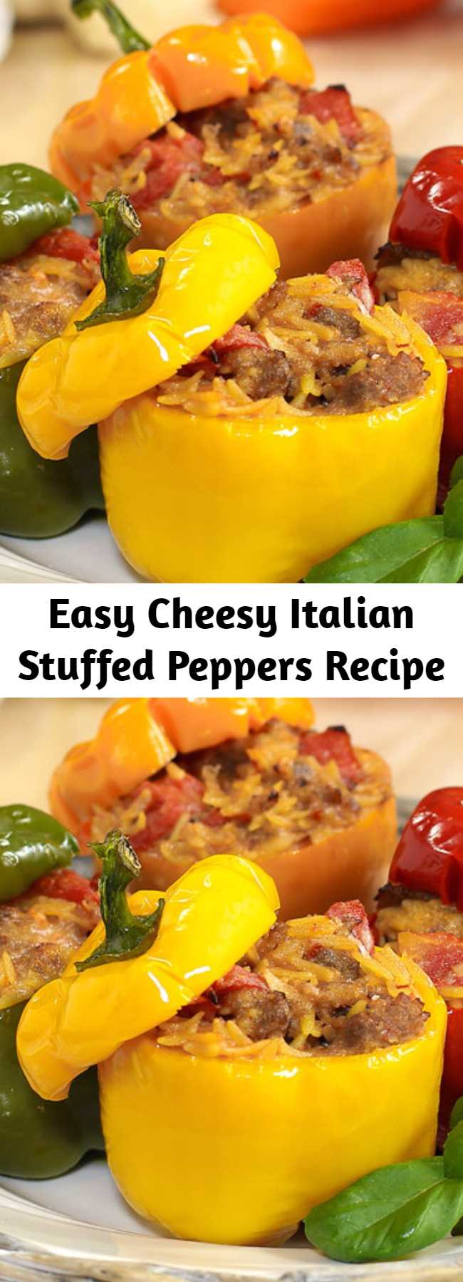 Easy Cheesy Italian Stuffed Peppers Recipe - Cheesy Italian Stuffed Peppers start with cheesy Italian sausage, fire-roasted tomatoes, and orzo pasta. It only gets better from there. An easy recipe that goes from prep to plate in 30 minutes makes this one a keeper! #stuffedpeppers #30minutemeals