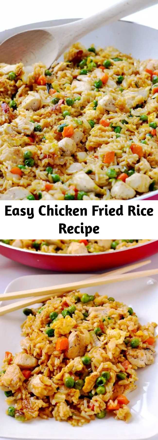 Easy Chicken Fried Rice Recipe - Skip the take-out and make this easy chicken fried rice at home. It's a simple weeknight dinner that's so budget friendly, and it's a real crowd-pleaser! #chicken #friedrice