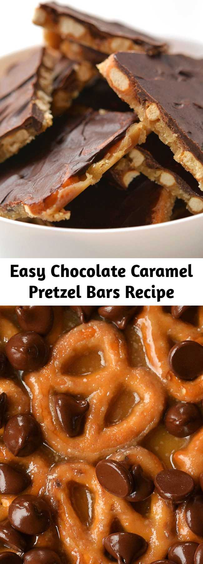 Easy Chocolate Caramel Pretzel Bars Recipe - These chocolate caramel pretzel bars are soooo good. And you only need 4 ingredients — so they're really easy to make! The sweet chocolate and caramel goes so perfectly with the salty crunch of the pretzels. A salty, crunchy and sweet holiday treat!