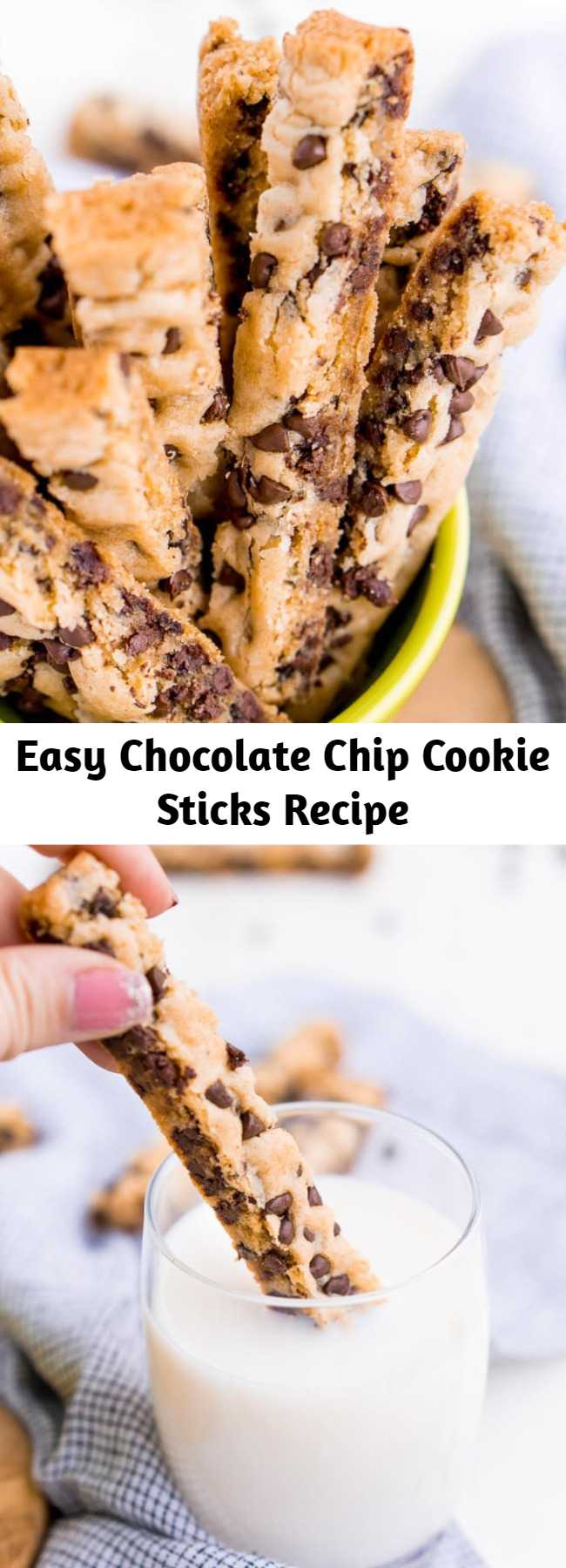 Easy Chocolate Chip Cookie Sticks Recipe - These Chocolate Chip Cookie Sticks are perfect for dunking! A thick, slightly crisp, yet still chewy cookie loaded with mini chocolate chips and made in a 9 x 13-inch pan for easy baking!