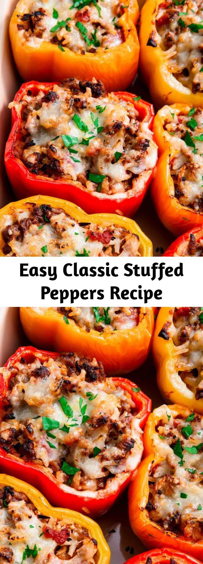 Easy Classic Stuffed Peppers Recipe - Classic Stuffed Peppers are the fast family dinner you need. #recipe #easy #easyrecipes #stuffedpeppers #peppers #dinner #dinnerrecipes #groundbeef #cheese #healthy #lowcarb #lowcarbrecipes #family