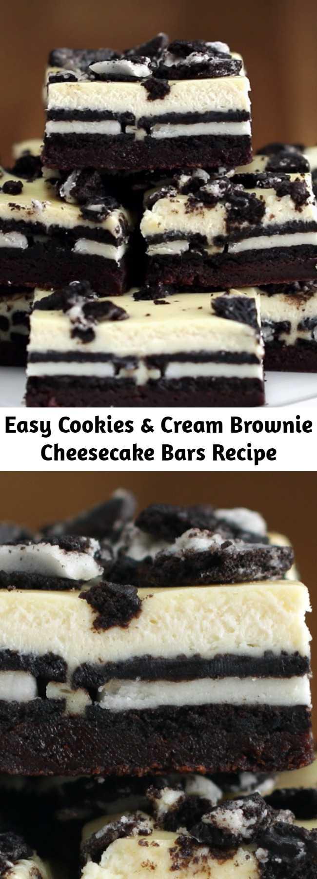 Easy Cookies & Cream Brownie Cheesecake Bars Recipe - Easy af and big crowd pleaser!