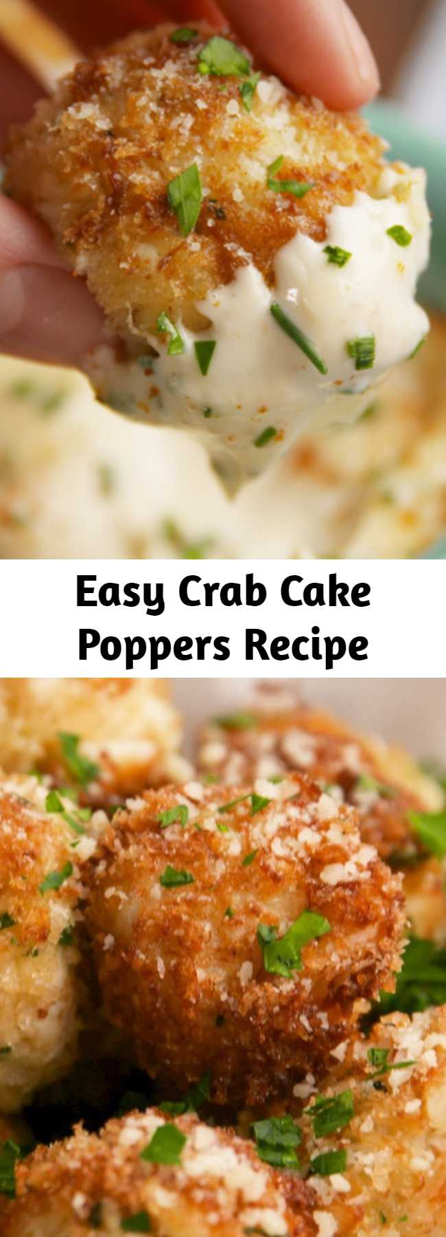 Easy Crab Cake Poppers Recipe - These are basically mini crab cakes that you won't be able to stop eating. #easy #recipe #crab #crabcakes #poppers #bites #seafood #appetizer #party