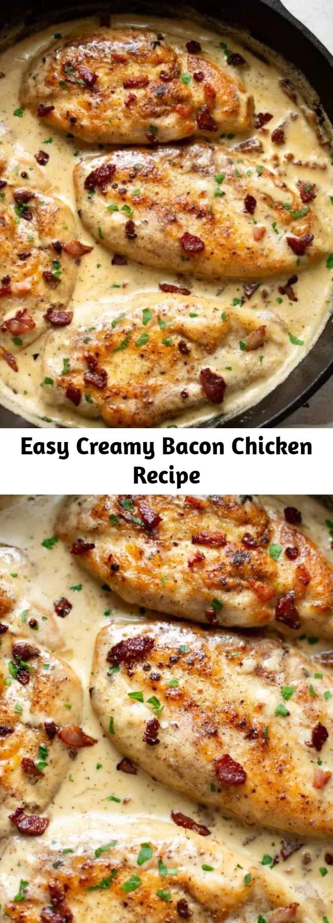 Easy Creamy Bacon Chicken Recipe - This creamy bacon chicken recipe is a decadent and delicious dinner that's easy enough for a weeknight and tasty enough for company. It's ready in about 30 minutes!