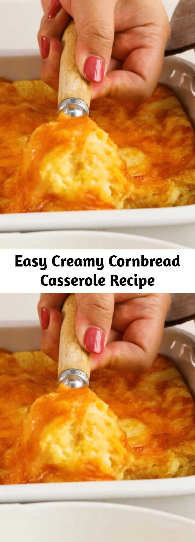 Easy Creamy Cornbread Casserole Recipe - This was amazing! First time I made it turned out perfectly, and was devoured within a half hour at a family gathering. Great for picky kids or adults.