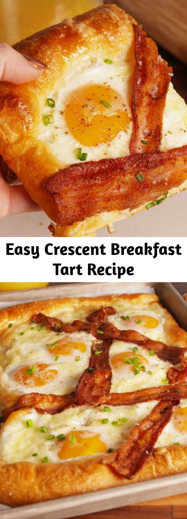 Easy Crescent Breakfast Tart Recipe - This Crescent Breakfast Tart is the EASIEST way to make breakfast for a crowd. As pretty as it is delicious!