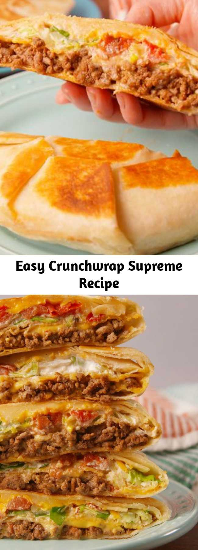 Easy Crunchwrap Supreme Recipe - Trust us, this is every bit as good as the real thing! This copycat recipe has all the main components of the iconic Taco Bell offering: seasoned ground beef, nacho cheese sauce, lettuce, tomatoes, sour cream, and, most importantly, a crunchy tostada shell. #easy #recipe #tacobell #crunchwrapsupreme #beef #nacho #cheese #tortilla #mexicanfood #copycat