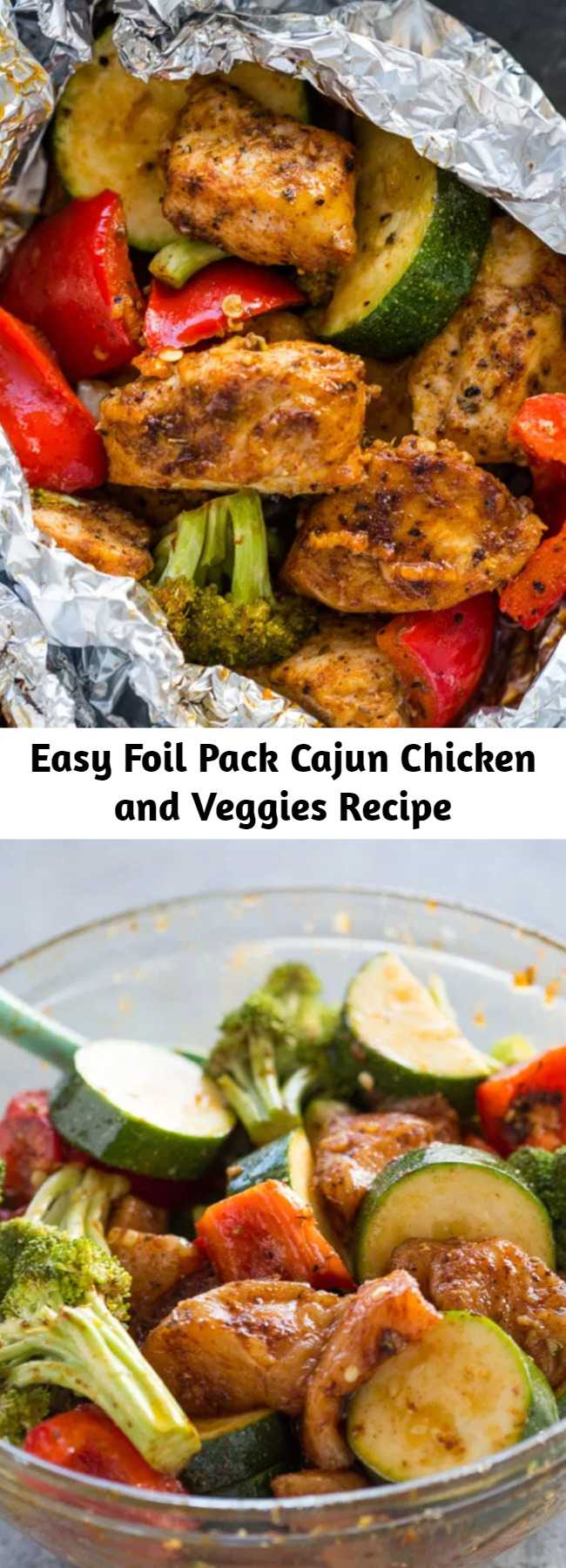 Easy Foil Pack Cajun Chicken and Veggies Recipe - Quick 30-minute chicken and veggies flavored with Cajun seasoning, garlic, and olive oil. These flavorful flavor packs are super healthy and make a delicious low-carb dinner.
