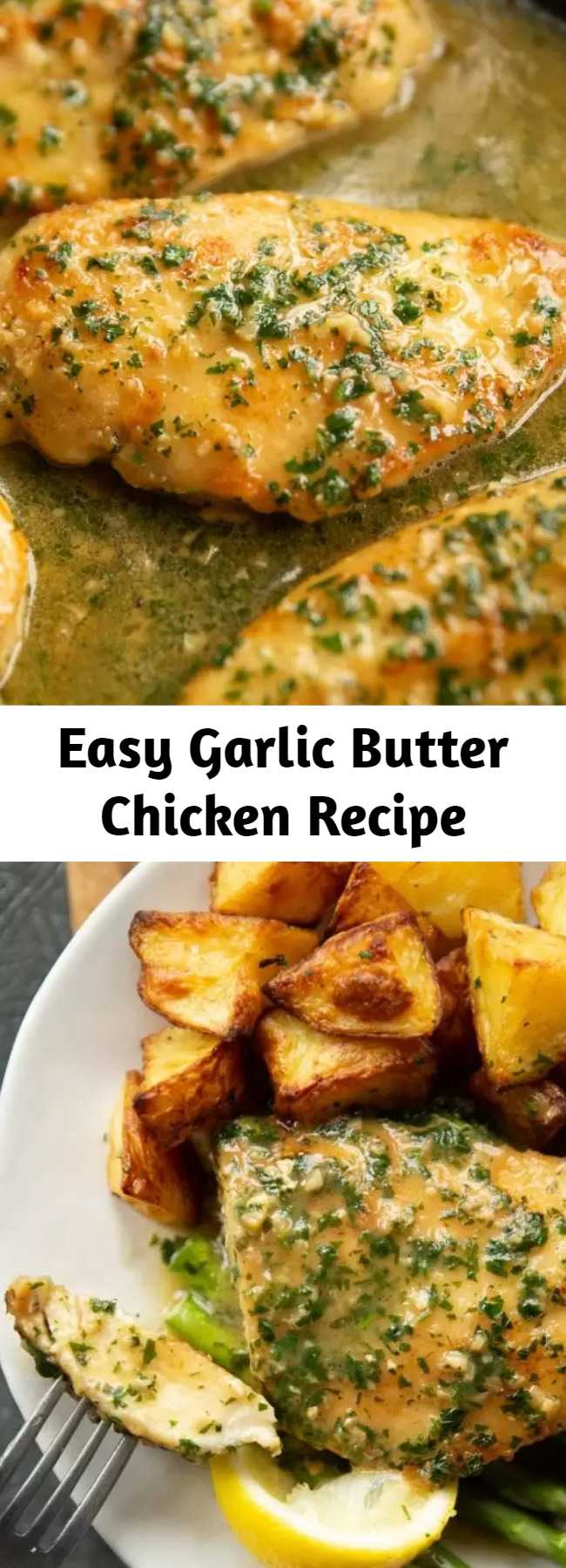 Easy Garlic Butter Chicken Recipe - This garlic butter chicken is perfect for a quick and easy midweek dinner. It's rich, garlicky and only requires 4 ingredients for the sauce! #garlic #butter #chicken #chickenbreast #dinner