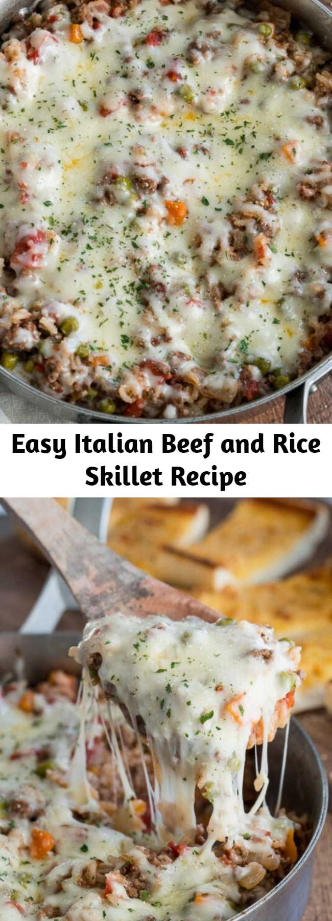 Easy Italian Beef and Rice Skillet Recipe - This hearty and cheesy Italian Beef and Rice Skillet is ready in less than 30 minutes for an easy weeknight dinner the whole family will love!