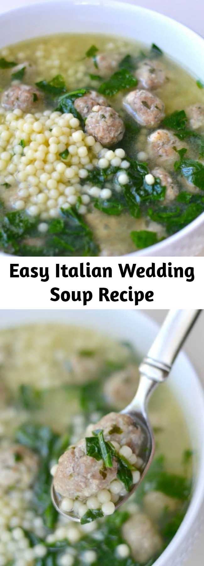 Easy Italian Wedding Soup Recipe - A delicious Italian Wedding soup recipe containing pasta, mini meatballs, spinach, and a flavorful broth.This Italian wedding soup recipe is simple to make and the absolute BEST thing to eat! My whole family loves it, and yours will, too.