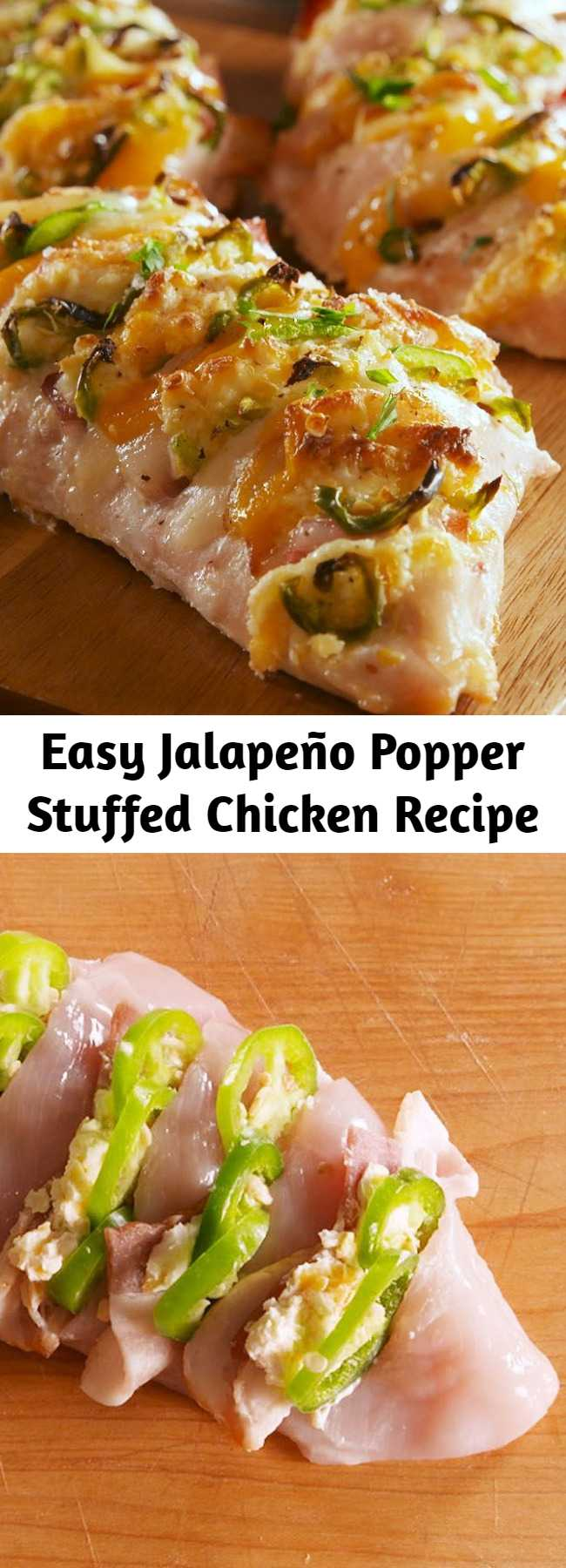 Easy Jalapeño Popper Stuffed Chicken Recipe - If you love jalapeño poppers, this is the chicken dinner of your DREAMS. With all the ingredients evenly distributed, every bite is perfect. #chickenrecipes #jalapenopoppers #jalapeno #spicy #healthyrecipes #easyrecipes #easychickenrecipes #dinner