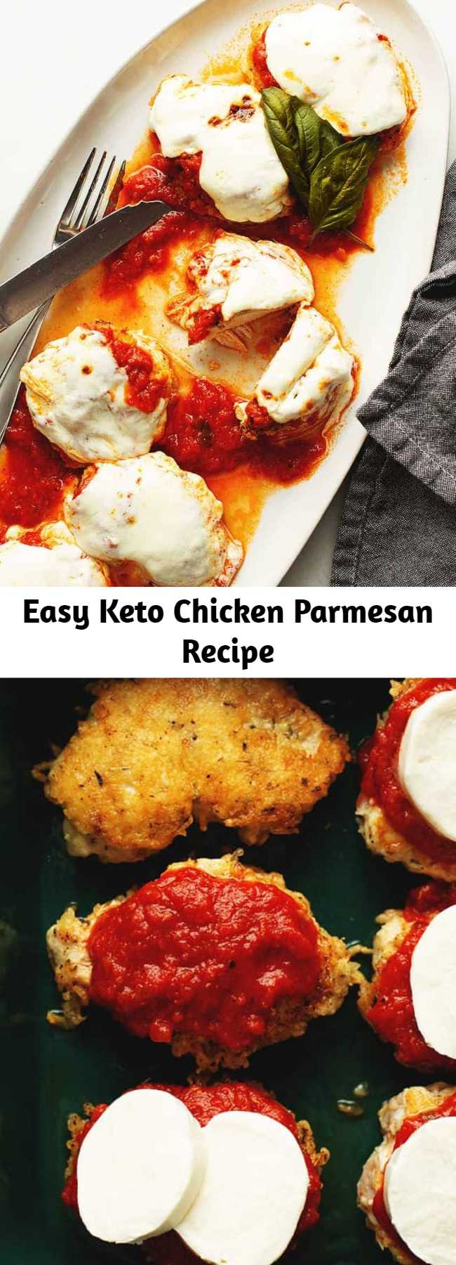 Easy Keto Chicken Parmesan Recipe - Keto chicken parmesan is a quick, easy, and delicious recipe to make for dinner. Thin chicken breasts are crusted in parmesan cheese, pan fried until golden brown, then topped with marinara and melty mozzarella cheese!