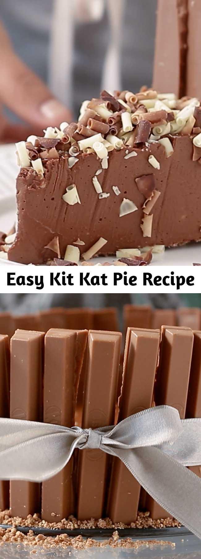 Easy Kit Kat Pie Recipe - Indulge with this creamy, chocolatey Kit Kat Pie! It will guarantee seconds. #chocolate #pie #kitkat #baking