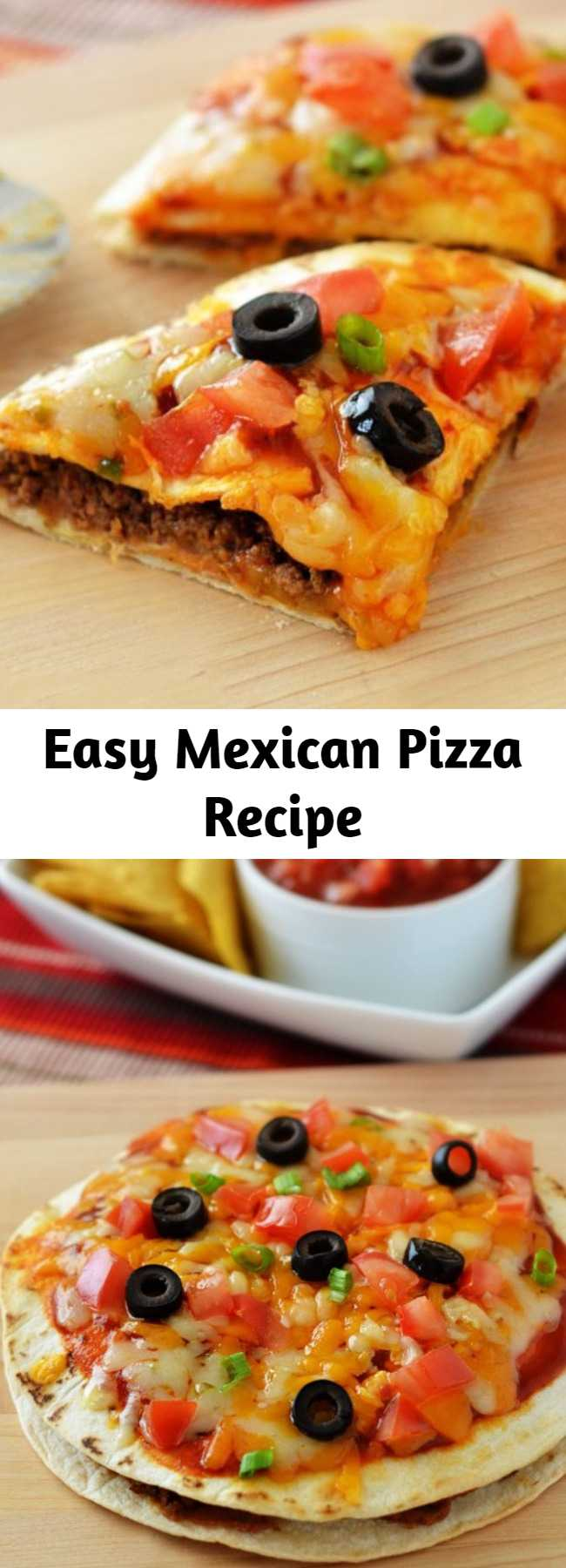 Easy Mexican Pizza Recipe - Mexican Pizza is filled with seasoned ground beef, beans, cheese and enchilada sauce stuffed between two golden flour tortillas. These are a delicious twist on traditional pizza! These will be a hit with the whole family!